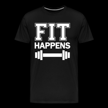 Fit Weights Fitness Funny Saying - Fit Happens - Men's Premium T-Shirt