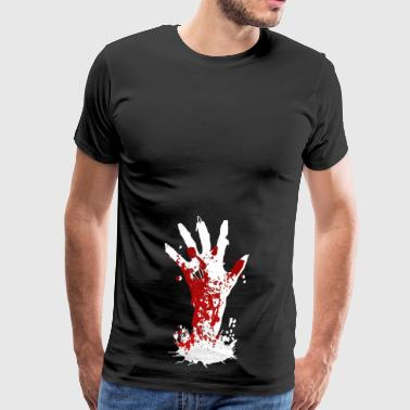 Zombie Hand Halloween Horror Blood Kirkegård Monster - Herre premium T-shirt