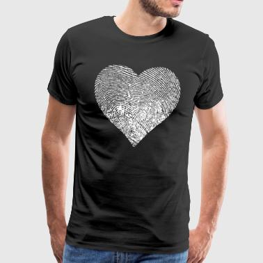 Fingerprint heart - Vit - Premium-T-shirt herr