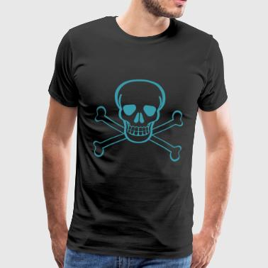 Schedel in piratenvlag idee - Mannen Premium T-shirt