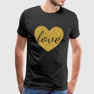 Cool Gold Effect Love Heart Alla hjärtans dag presenter - Premium-T-shirt herr
