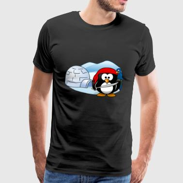 Pirate penguin with sword, parrot and igloo. - Men's Premium T-Shirt