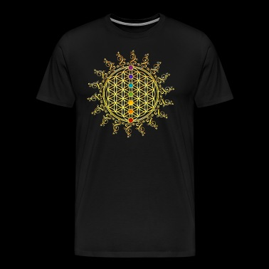 Flower of Life Chakras Sacred Geometry Yoga Om - Men's Premium T-Shirt