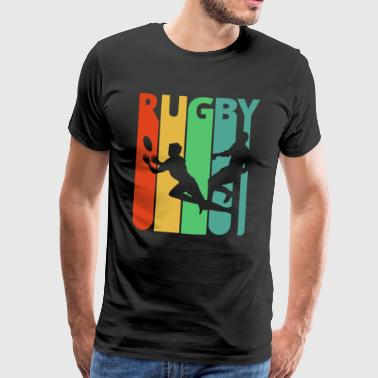Vintage Retro Rugby Ball Silhouette Cool Art Gifts - Men's Premium T-Shirt
