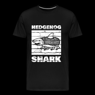 Hedgehog, shark, white wall - Men's Premium T-Shirt