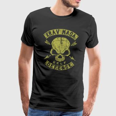 Krav Maga Self Defense Skull - Premium T-skjorte for menn