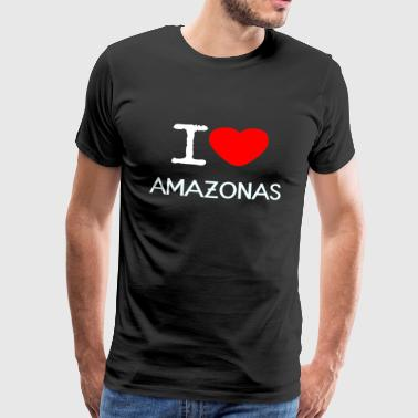 I LOVE AMAZON - Herre premium T-shirt