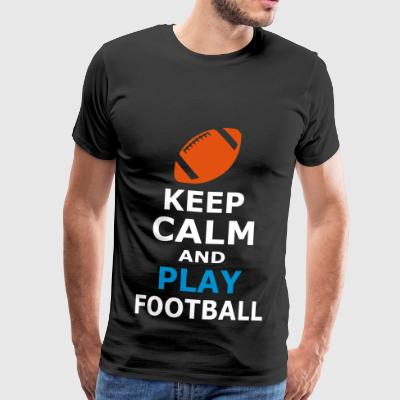 Keep Calm and spille fotball - Premium T-skjorte for menn