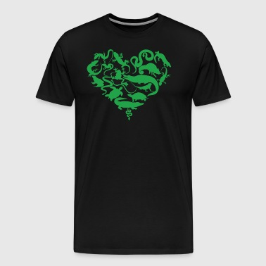 Reptiles / Heart / snakes / lizards / turtles - Men's Premium T-Shirt