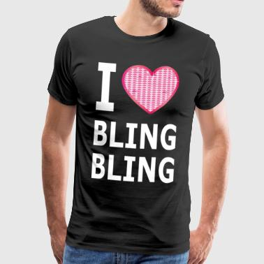J'aime BLING BLING coeur rose strass brillant poussin - T-shirt Premium Homme