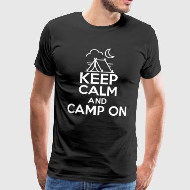 Keep Calm Camp On T-Shirt with Tent and Moon - Men's Premium T-Shirt