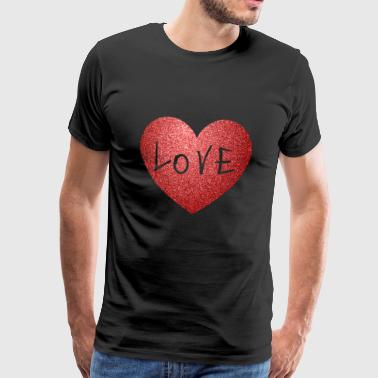 Cool Sparkle Effect Love Heart Alla hjärtans dag.MOM - Premium-T-shirt herr