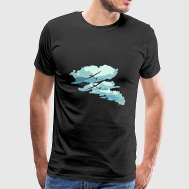 Clouds glider gift pilot cross-country flight - Men's Premium T-Shirt