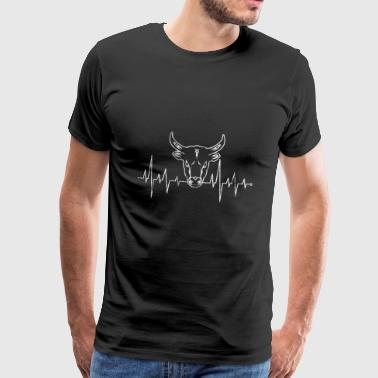 Heart line heart rate heartbeat cow skull cow - Men's Premium T-Shirt