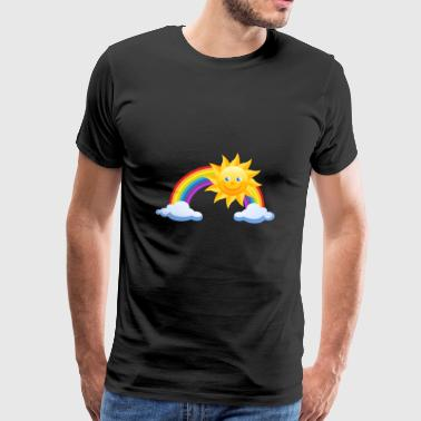 Rainbow with sun and clouds - Men's Premium T-Shirt
