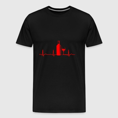 ECG HEARTLINE WINE / WINE BOTTLE / WEINGLAS Red - Men's Premium T-Shirt