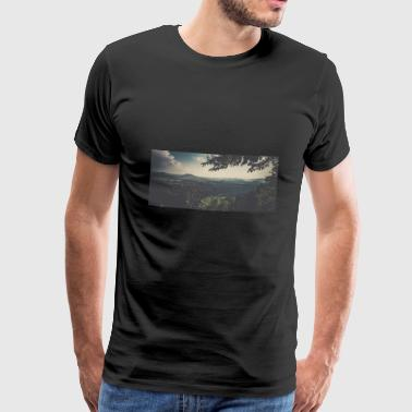 Panorama Elbe Sandstone Mountains - Herre premium T-shirt
