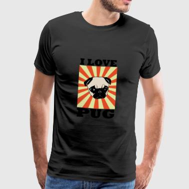 Pug Pug 80s Pet Retro Style Dog Gift - Men's Premium T-Shirt
