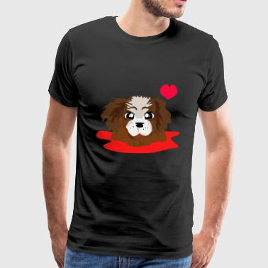 Cute puppy with heart - Men's Premium T-Shirt