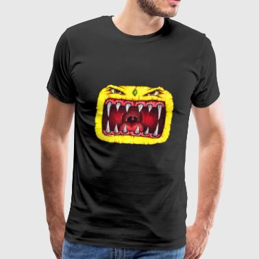 Monster with teeth yellow - Men's Premium T-Shirt