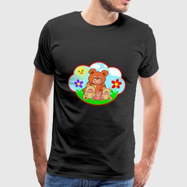 Four funny teddy bears on the meadow gift - Men's Premium T-Shirt