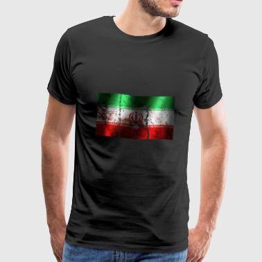 Iran flag cool vintage used sport look - Men's Premium T-Shirt