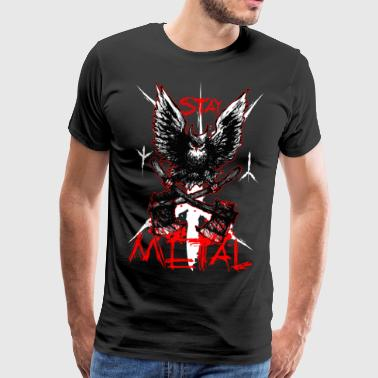 Metall Owl - Stay metall - Premium-T-shirt herr