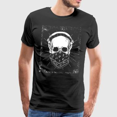 Skeleton headphones music skull vintage gift - Men's Premium T-Shirt