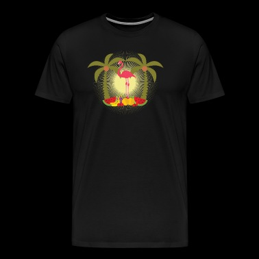 Flamingo with palm trees and fresh fruits - Men's Premium T-Shirt