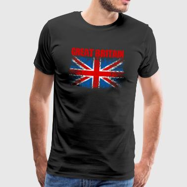 UK flagg 008 runde design - Premium T-skjorte for menn