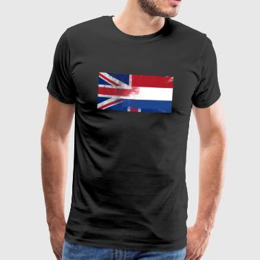 Engelsk Dutch Holland Half Half UK Flag - Herre premium T-shirt