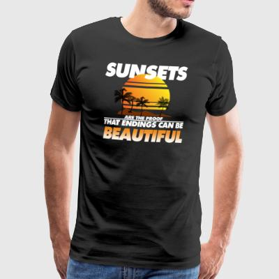 Sunsets are beautiful gift spruch holiday palm - Men's Premium T-Shirt