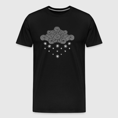 gray cloud and flakes winter vacation - Men's Premium T-Shirt