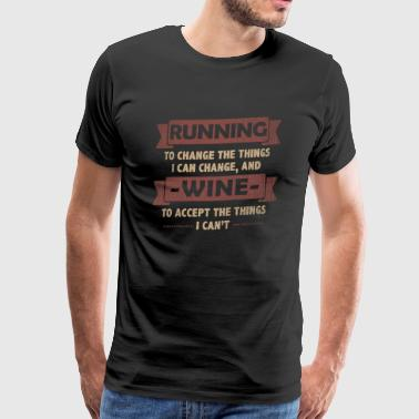 Morsomme sitater> Running + Wine - Premium T-skjorte for menn