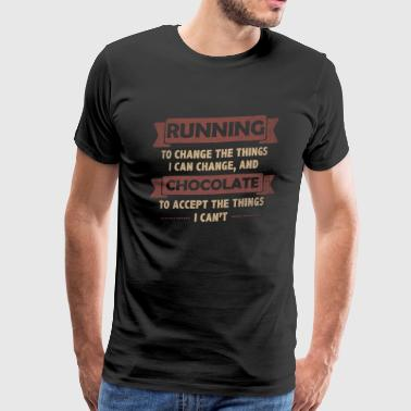 Funny Quotes> Running + Chocolate - Men's Premium T-Shirt
