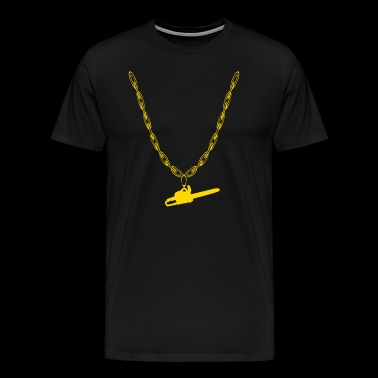Chain saw woodcutter gold chain - Men's Premium T-Shirt