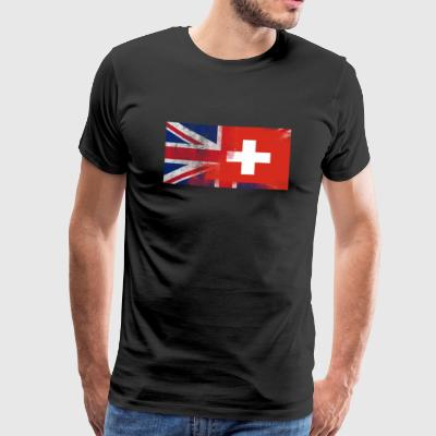 British Swiss Half Switzerland Half UK Flag - Men's Premium T-Shirt