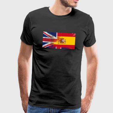 British Spanish Half Spain Half UK Flag - Men's Premium T-Shirt