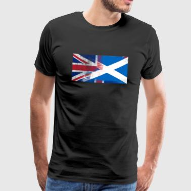 British Scottish Half Scotland Half UK Flag - Men's Premium T-Shirt