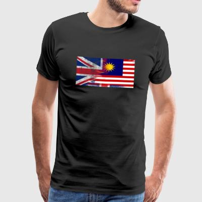 British Malaysian Malaysia Half Half UK Flag - Premium T-skjorte for menn