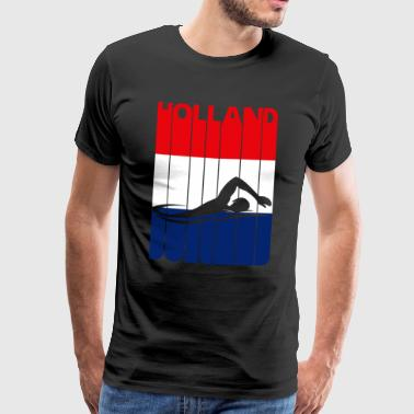Swimming. HOLLAND.Flag of The Netherlands.Vintage - Men's Premium T-Shirt