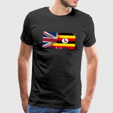 British Uganda Uganda Half Half UK Flag - Premium T-skjorte for menn