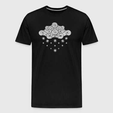 white cloud and flakes winter holiday - Men's Premium T-Shirt