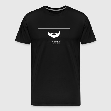 Hipster - beard and lettering in box - Men's Premium T-Shirt