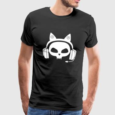 Gamer Skull Cat with Headset (White) - Men's Premium T-Shirt