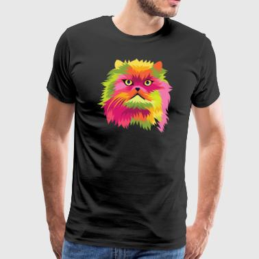 Popart comic cat Persian cat - Men's Premium T-Shirt
