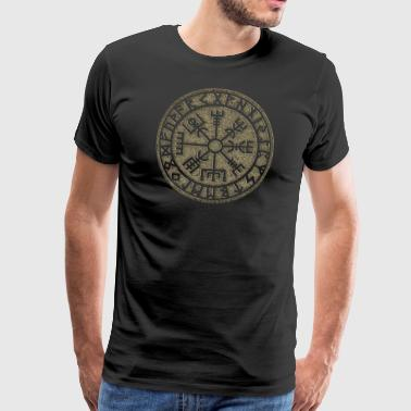 Vegvísir Futhark runor Viking magic symbol av skydd - Premium-T-shirt herr