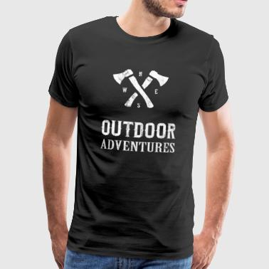 Outdoor Adventures Distressed Hiking Hiking Gift - Men's Premium T-Shirt