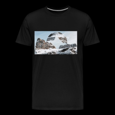 Landscape mountain hipster circle - Men's Premium T-Shirt