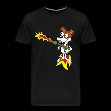 Chien chien doggy chiot Flamethrower jetpack lust - T-shirt Premium Homme